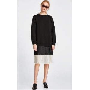 NWT! Zara Black Sweater Contrast Dress - Size S